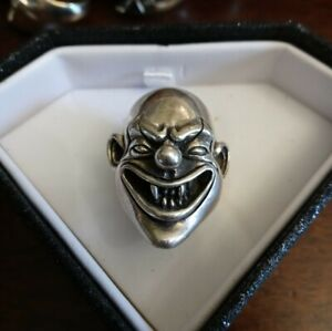Sterling Silver Clown Joker Skull Ring Men's  Size 10-11 Heavy 24 Grams No Scrap