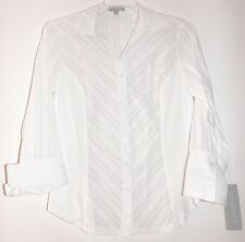 9a92487c99fceb Elementz Women Blouse White Three Quarter Sleeves Size M Knit-Inset Shirt