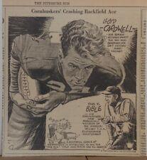 "1935 newspaper panel ""Cornhuskers Crashing Backfield Ace"" Lloyd Cardwell, Bible"
