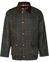 Mens Lightweight Waxed Forest Green Check Pattern Outdoors Jacket S-XXL