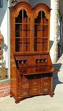 William & Mary colonial cherry slat top secretary desk curio Cabinet by Jasper