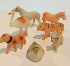 7 Vintage Celluloid Animals Horses Dogs Tiger Swan Ostrich Occ.Japan Usa