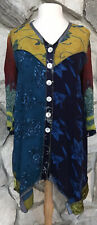 NOTHING MATCHES WOMEN'S SIZE 1 BUTTON TUNIC JACKET BLOUSE TOP PAISLEY FLORAL EUC