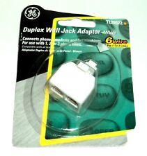 GE Duplex Wall Jack Adaptor - White TL26522  NIP