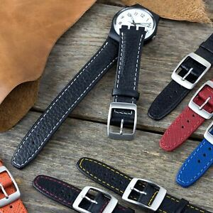 Genuine Leather 17mm Replacement watch strap for Swatch in a choice of colours