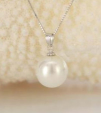 Fashion 14MM Natural Round White South Sea Shell Pearl Pendant Necklace AAA