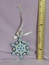 Wedgwood Blue & White Pierced Snowflake Ornament No Box (B71)