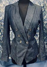 WHITE HOUSE BLACK MARKET Size 8 Stretch Thin Denim Jacket Blazer  EUC