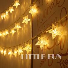 10M 100 LED Lichterkette Stern Kabel Weihnachten Deko Beleuchtung Lichtervorhang