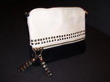 MMS Handbag Clutch Purse Tan Black Two Tone Studs Tassels Bag Gold Hardware