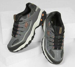 Gray Skechers Shoes Men Wide Width Sport Memory Foam Leather Mesh Sneaker 50125