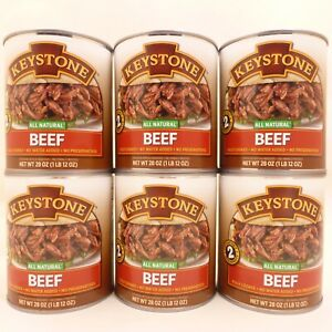 6 - 28 oz Cans Keystone All Natural Shredded Beef Emergency Survival Food Supply
