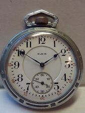 VERY RARE 16s ELGIN FATHER TIME RAILROAD Pocket Watch w/ JEWELERS LOANER CASE