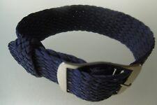 Perlon Strap Perlon Uhrenarmband blau 20 mm Dornschließe