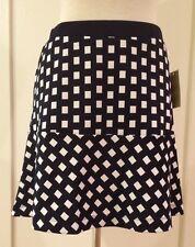 Michael Kors Mini Skirt Flare Above Knee New Navy White 8 M NWT $79.50