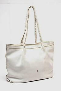 """HENRY BEGUELIN """"Hand Made"""" White Pebble Leather white Satchel BAG 10.5"""" x 17"""""""