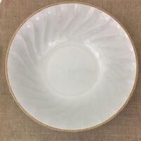 "Sculptura Hearthside Stoneware Ivory Brown Trim Swirl Serving Bowl 9.25""Wx2.25T"