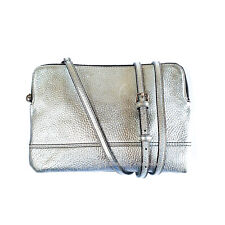 OROTON Bueno Double Large Clutch Crossbody Bag Leather Silver RRP$295