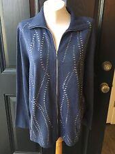 New $119 Chico's Zenergy Cotton Cashmere Blue Sweater Jacket Sz 3 = XL 16 18 NWT