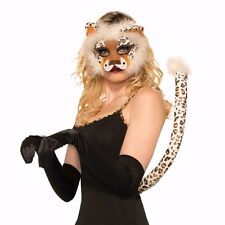 DELUXE LEOPARD MASK & TAIL PLUSH KIT ADULT HALLOWEEN COSTUME ACCESSORY