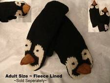 HAT + MITTENS SET Adult size PENGUIN animal shaped mens women's FLEECE LINED