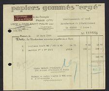 """PARIS (III°) USINE du PARC ST-MAUR de PAPIERS Gommés """"ERGE"""" en 1936"""