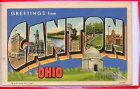 LARGE LETTER LINEN-GREETINGS FROM CANTON,OH 1942