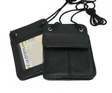 TWO 2 Leather ID CARD Holder Neck Adjustable Strap Pouch Travel Pouch Wallet
