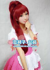 Puella Magi Madoka Magica Kyoko Sakura Long Wine Red Ponytail Cosplay Wig + CAP