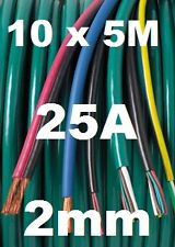 50M 2mm 12v AUTOMOTIVE CABLE KIT 25A 2.0mm AUTO WIRE 28/0.30 10 X 5M LENGTHS