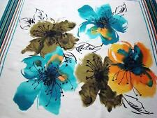 "1-YD & 16"" WHITE SATIN FABRIC GORGEOUS 4 SQUARES TEAL FLOWERS PRINT NEW"