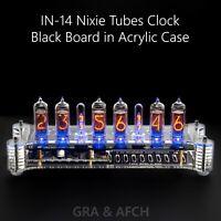 IN-14 Nixie Tubes Clock in Acrylic Case with Temperature Sensor [BLACK BOARD]