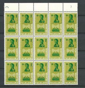 FALKLAND ISLANDS U/MINT BLOCK OF 15 Sg209 - plate no?