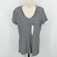 Universal Thread Black White Stripe Monterey Pocket V-Neck Tee Shirt S, XL