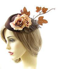 Brown Caramel Rose Leaf Pillbox Hat Fascinator Autumn Races Hair Vtg 1940s 470