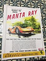 VINTAGE CLASSIC INDUSTRIES MANTA RAY SLOT CAR  POSTER PAGE VERY COOL COLOR AD 4U