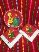Vintage Sesame Street Christmas Party Supplies Plates And  Napkins