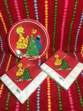 Vintage Sesame Street Christmas Party Supplies Plates And  Napkins