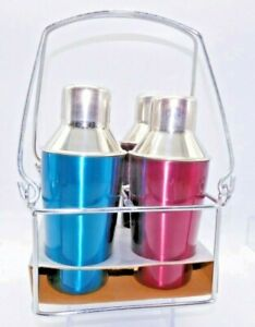 👓4 Individual Martini Shakers in a Metal Carry Crate
