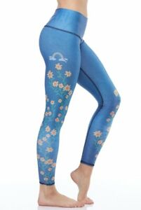 Teeki Yoga Leggings Woodstock Floral Large Pilates Fitness Gym Made In USA Pants