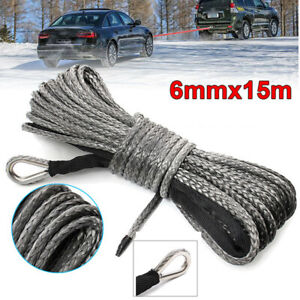 """50ft ×8mm(1/4"""")  1 X Nylon Synthetic Winch Line Cable Rope fits most car"""
