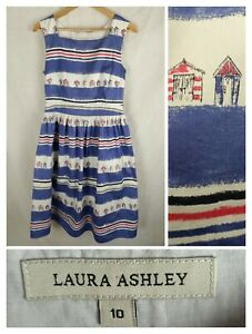 Laura Ashley 10 Dress Cotton Midi Retro Beach Hut Stripe Nautical full skirt