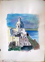 ✅Acquerello '900 su carta Watercolor-Chiesa con case sul mare seascape - (126)
