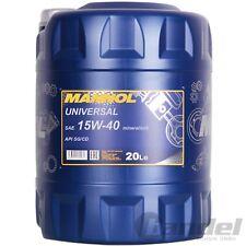 [1,90€/L] 20 Liter MANNOL SAE 15W40 Universal Motoröl mineralisch für API SG/CD