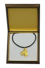 Doberman pincher - gold plated necklace with dog, in box, Art Dog USA