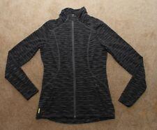 Women's Lole Essential Print Cardigan Track Jacket Small SPF50+ Black Grey