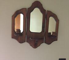 Folding Wood Mirror Display Shelf Candle Holder Home interior Wall Hanging Decor