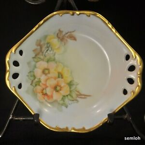 Shallow Bowl Reticulated Handles Hand Painted Yellow Orange Roses Green w/Gold