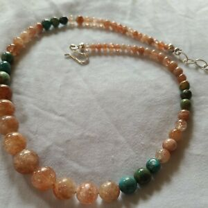 Jay King Mine Finds Opaque Sunstone With Green Turquiose Bead Necklace.