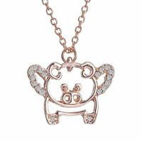 Fashion Rose Gold 18K Crystal Flying Pig Pendant Necklace Jewelry Valentine Gift